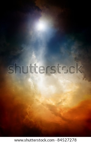 Apocalyptic background - dark dramatic sky, bright light form above. End of time, armageddon, countdown to armageddon, nostradamus armageddon 2012, mayan apocalypse 2012