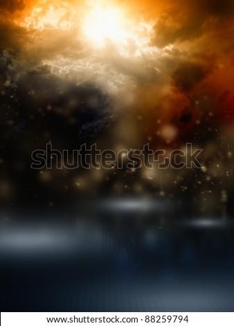 Apocalyptic background - dark dramatic sky, bright sunlight