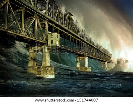 Apocalyptic background - giant tsunami waves
