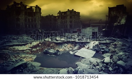 apocalyptic city sunset. Creative 3D illustration
