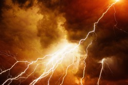 Apocalyptic dramatic background - bright lightnings in dark red stormy sky, judgment day, armageddon