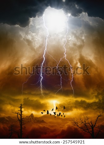 Apocalyptic dramatic background - lightnings in dark red sky, flock of flying ravens, crows in dark red moody sky, judgment day