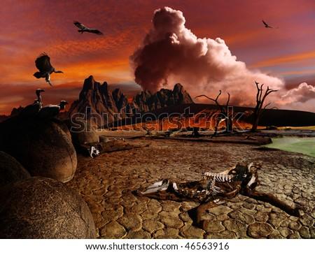 Apocalyptic fantasy landscape - stock photo