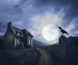 Apocalyptic Halloween scenery with old house, grave and raven
