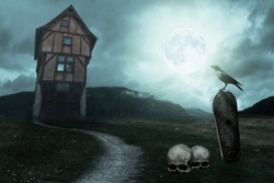 Apocalyptic Halloween scenery with old house, pumpkin, grave, raven and moon