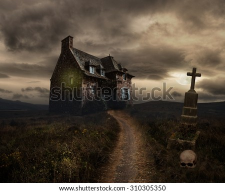 Apocalyptic Halloween scenery with old house, skull and grave