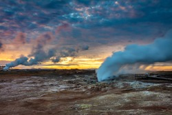 Apocalyptic Midnight Sunrise on the Reykjanes Peninsula in Iceland with geothermal vents blowing steam