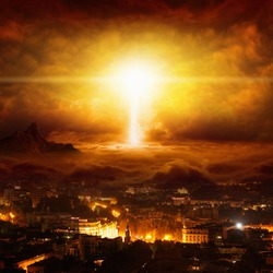 Apocalyptic religious background - huge powerful lightning hits city, judgment day, end of world, red glowing skies
