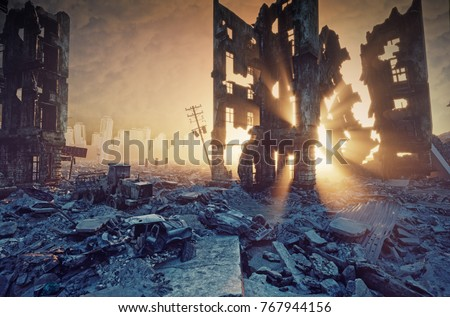 apocalyptic sunset. Creative 3D illustration