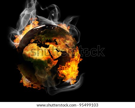 Apocalyptic view of planet Earth in fire - stock photo