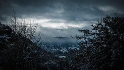 Apocalyptic winter landscape of impeding doom