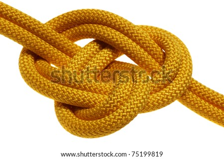 apocryphal knot on double yellow rope. isolated on white background