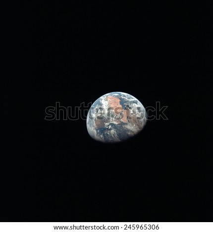 Apollo 11 Earth view from space. African and the Middle East from more than 100,000 miles. July 17, 1969.