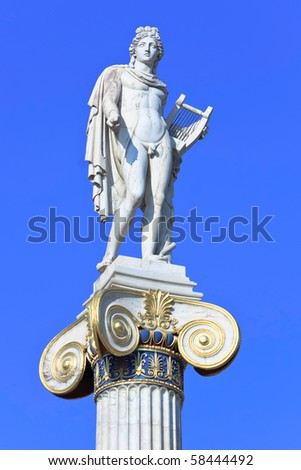 Apollo statue with golden decorations