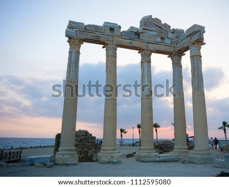 Apollon Temple, Side, Antalya/Turkey - June 10, 2018: Tourists are posing at the temple of Apollo as the best-recognized symbol of the Side, Turkey