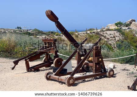 Apollonia National Park catapult and balista reconstruction of ancient throwing machines