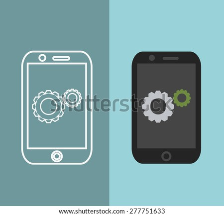 App Development Concept In Flat Style - Mobile Phone And Sketch On ...