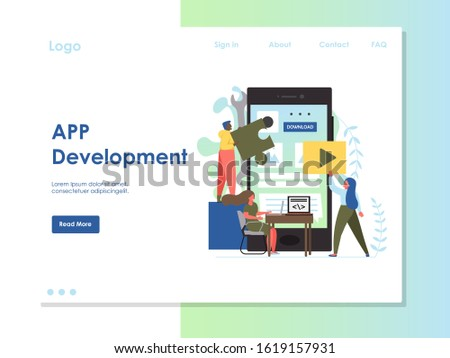 App development website template, web page and landing page design for website and mobile site development. Tiny people software application developers building big smartphone user interface.