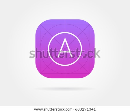 App Icon Template with Guidelines. Raster Fresh Colour