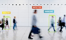 App scanning and tracking blurred people for Coronavirus prevention in the city - Software against Covid-19 outbreak - Big data, privacy, immune, healthy and infected concept - Defocused photo