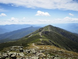 Appalachian Trail on sunny day, White Mountains Franconia Ridge, New Hampshire