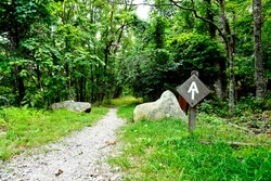Appalachian Trail sign along the Blue Ridge Parkway in Virginia. The Great Valley Overlook, Milepost 99.6 of the Parkway. The Appalachian Trail is a long distance trail runs along Blue Ridge Parkway.