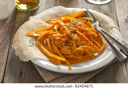 Appam and carrots with tropical flavors