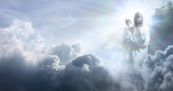 Apparition Of The Virgin Mary And Baby Jesus In The Clouds