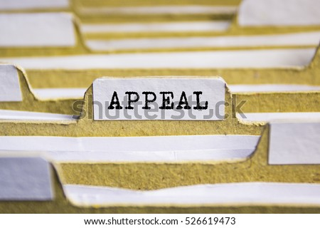 Appeal word on card index paper