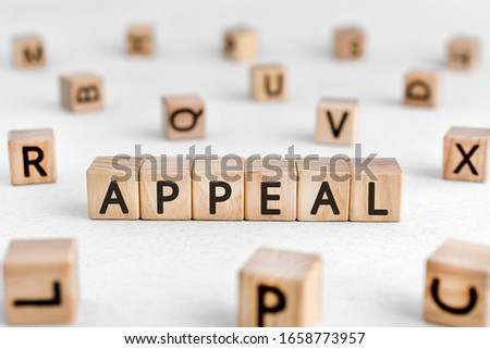 Appeal - words from wooden blocks with letters, a serious or urgent request appeal concept, white background
