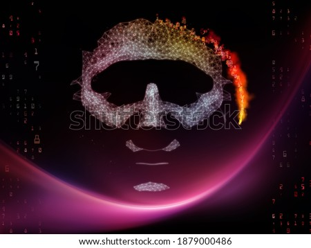 Appearance of Synthetic Mind. 3D Illustration of а human face, lights of abstract dawn and column of numbers on subject of machine learning, modern technology, education and computing. Сток-фото ©