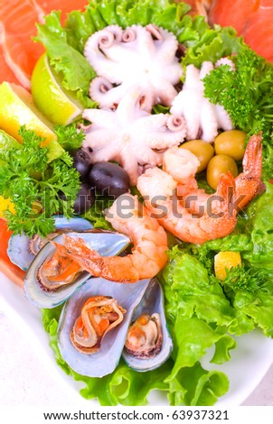 appetizer closeup of different seafood and vegetables