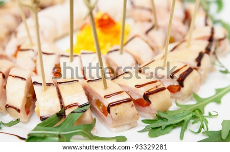 Appetizer on banquet table, close-up
