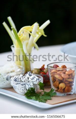 Appetizer snacks on a reception - stock photo