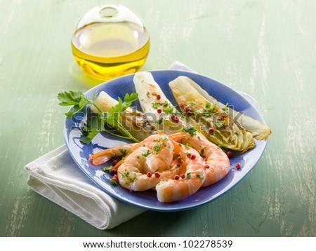 appetizer with shrimp and grilled endive salad