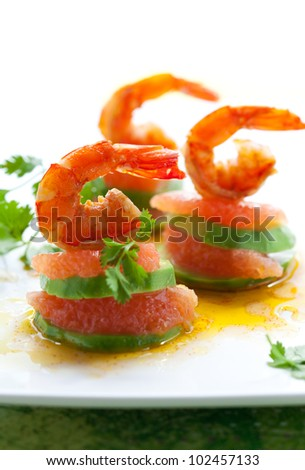 appetizer with shrimp,grapefruit and avocado - stock photo