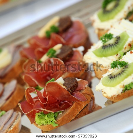 Appetizers and finger food - closeup