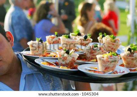 Appetizers at a Mexican wedding in Mexico. - stock photo