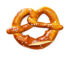 Appetizing Bavarian pretzel isolated on white background