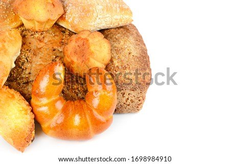 Photo of Appetizing breads and buns isolated on a white background. Free space for text.