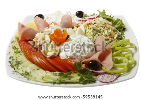 Appetizing bulgarian salad on a plate. Close up.