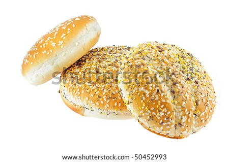 appetizing buns with sesame isolated on white