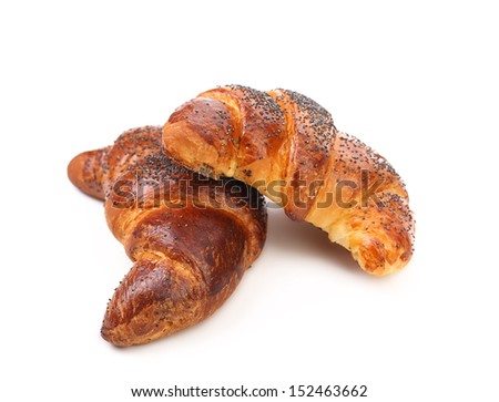 Appetizing croissants with poppy.