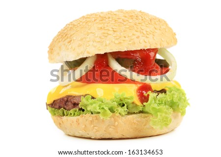 Appetizing fast food hamburger. Isolated on a white background.