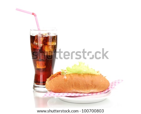 Appetizing hot dog and cola isolated on white
