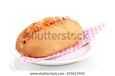 Appetizing hot dog on plate isolated on white
