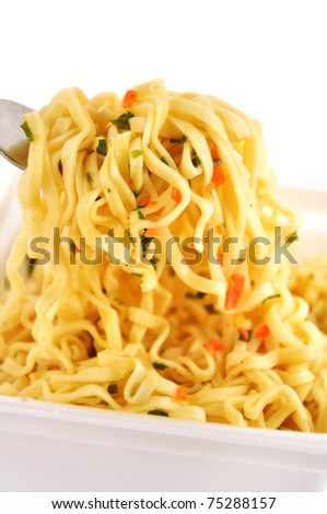Appetizing Instant noodles with spices isolated on white - stock photo