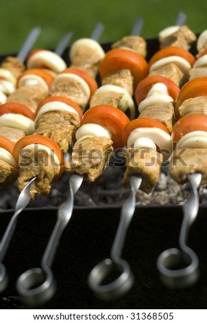appetizing kebabs cooking on the BBQ at sunday