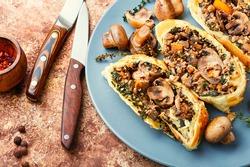 Appetizing mushroom pie or wellington mushroom. English cuisine