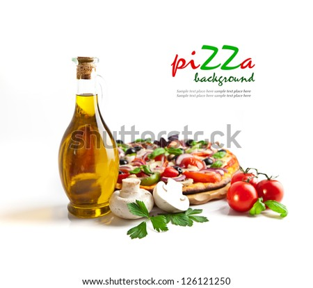 Appetizing pizza with mushrooms isolated on white